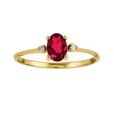 Lab-Created Ruby Diamond-Accent 14K Yellow Gold Ring