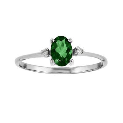 Genuine Emerald Diamond-Accent 14K White Gold Ring