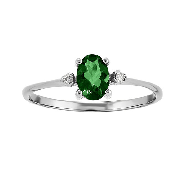 Genuine Emerald Diamond Accent 14K White Gold Ring JCPenney