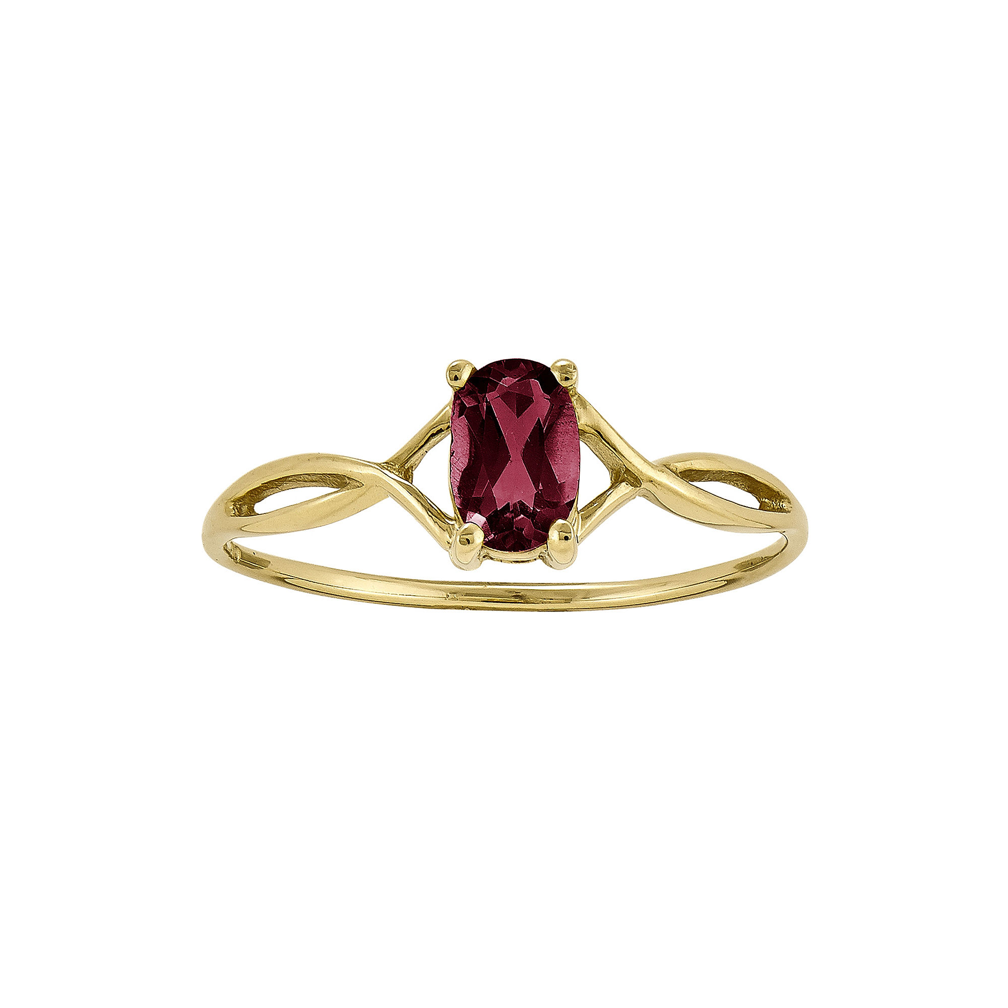 Lead Glass-Filled Ruby 14K Yellow Gold Birthstone Ring