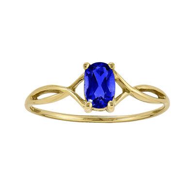 Oval Genuine Blue Sapphire 14K Yellow Gold Birthstone Ring