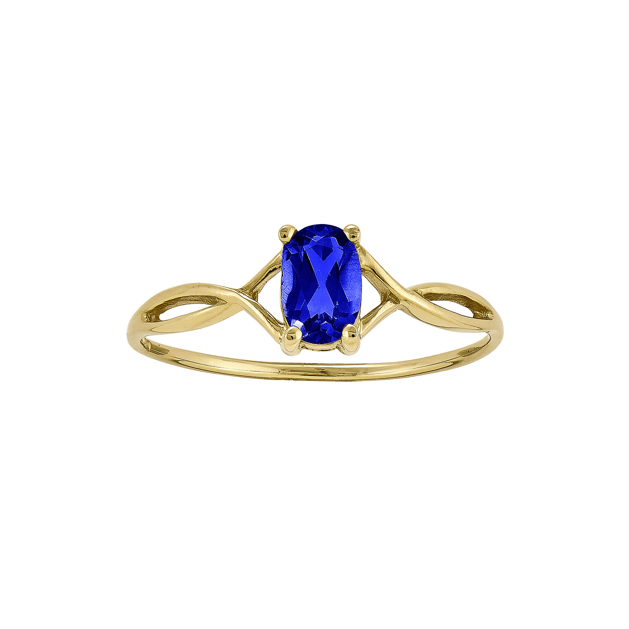 Oval Genuine Blue Sapphire 14K Yellow Gold Birthstone Ring