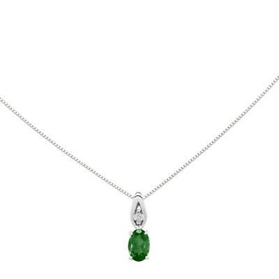 Genuine Emerald and Diamond-Accent 14K White Gold Pendant Necklace