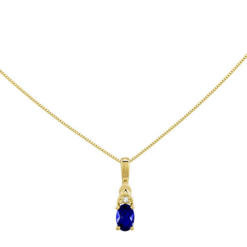 Genuine Blue Sapphire and Diamond-Accent 14K Yellow Gold Pendant Necklace