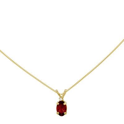 Lab-Created Ruby Diamond-Accent 14K Yellow Gold Pendant Necklace