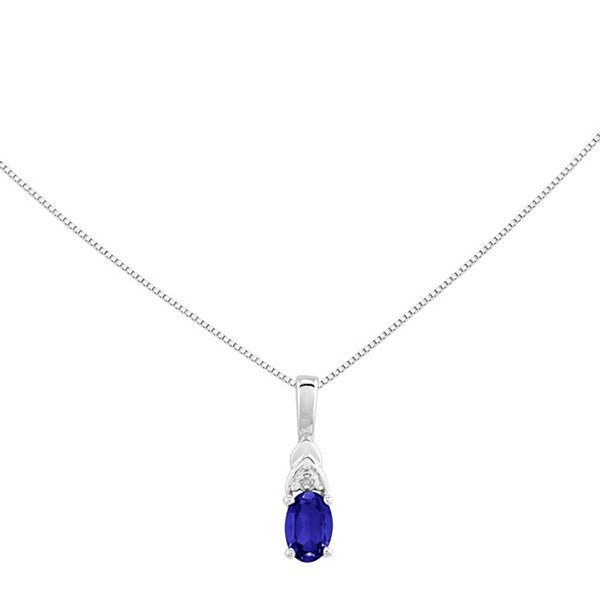 Genuine blue sapphire and diamond accent 14k white gold pendant genuine blue sapphire and diamond accent 14k white gold pendant necklace aloadofball Images