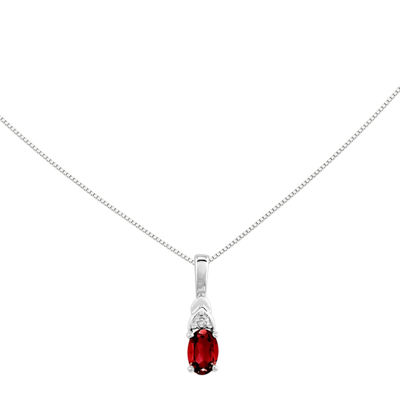 Genuine Ruby and Diamond-Accent 14K White Gold Pendant Necklace