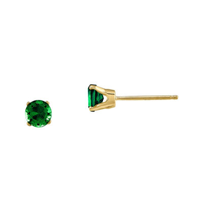 4mm Round Genuine Emerald 14K Yellow Gold Earrings