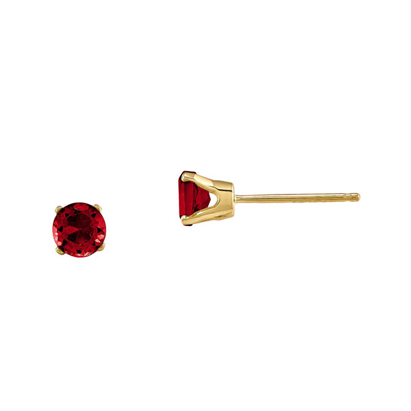 Fine Jewelry 3mm Round Lab Created Ruby Earring in 14K White Gold gfs6Yg