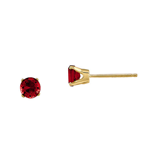 4mm Round Lab Created Ruby Earring in 14K Yellow Gold
