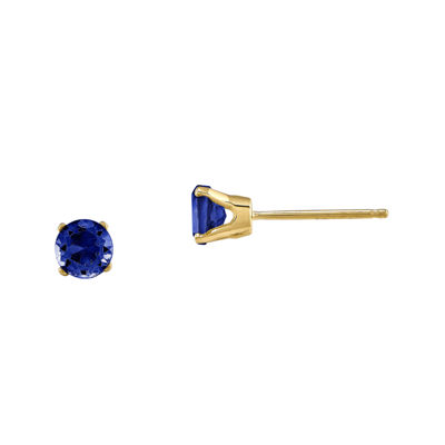Round Genuine Blue Sapphire 14K Yellow Gold Earrings