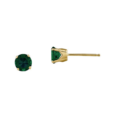 5mm Round Genuine Emerald 14K Yellow Gold Earrings