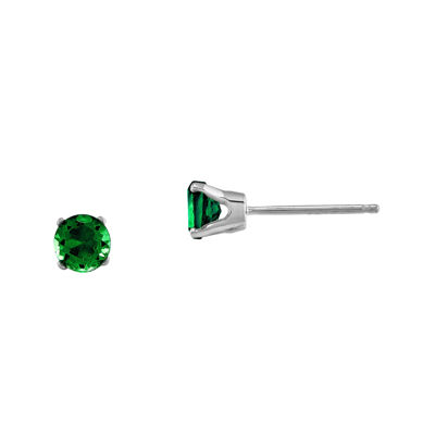 4mm Round Genuine Emerald 14K White Gold Earrings
