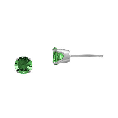 Genuine Emerald 14K White Gold Stud Earrings