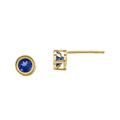 Genuine Blue Sapphire 14K Yellow Gold Earrings