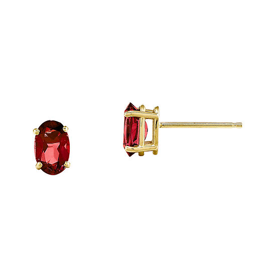 Lab-Created Ruby 14K Yellow Gold Stud Earrings