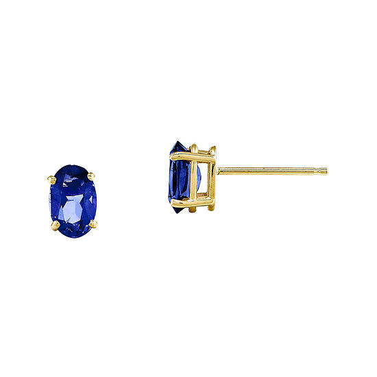 Genuine Blue Sapphire 14K Yellow Gold Stud Earrings