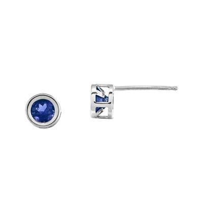 Genuine Blue Sapphire 14K White Gold Stud Earrings