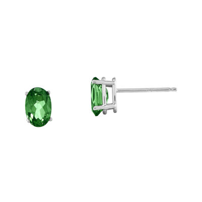 Genuine Emerald 14K White Gold Stud Earrings