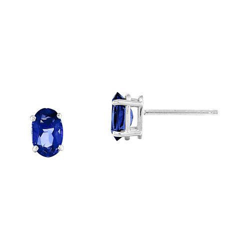Genuine Blue Sapphire 14K White Stud Earrings