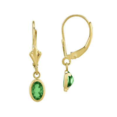 Genuine Emerald 14K Yellow Gold Drop Earrings