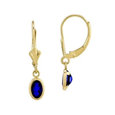 Genuine Blue Sapphire 14K Yellow Gold Drop Earrings