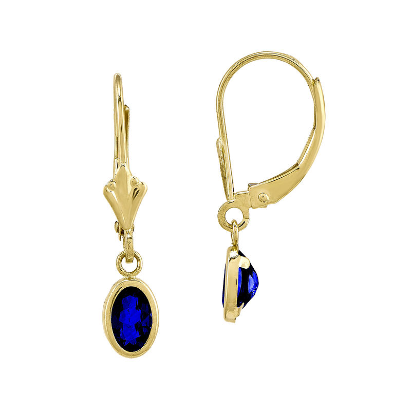 Genuine Blue Sapphire 14K Yellow Gold Drop Earrings