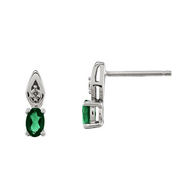 Genuine Emerald and Diamond-Accent 14K White Gold Earrings