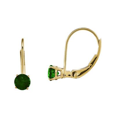 Genuine Emerald 14K Yellow Gold Leverback Earrings