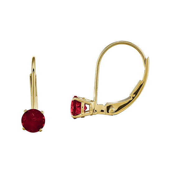 Lab Created Ruby 14k Yellow Gold Leverback Earrings