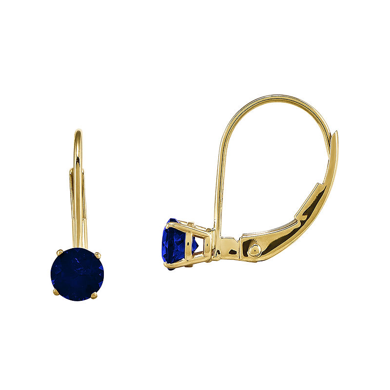 Genuine Blue Sapphire 14K Yellow Gold Leverback Earrings