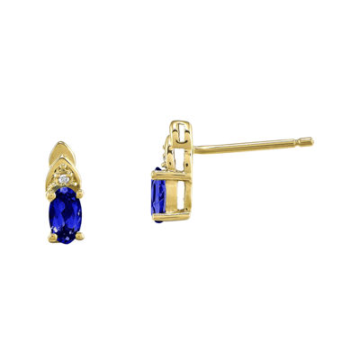 Genuine Blue Sapphire and Diamond-Accent 14K Yellow Gold Earrings