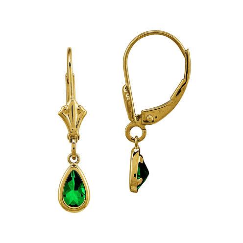 Genuine Emerald 14K Yellow Gold Pear Drop Earrings