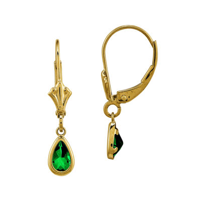 Genuine Emerald 14K Yellow Gold Pear Drop Earrings