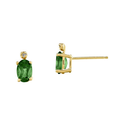 Genuine Emerald Diamond-Accent 14K Yellow Gold Earrings