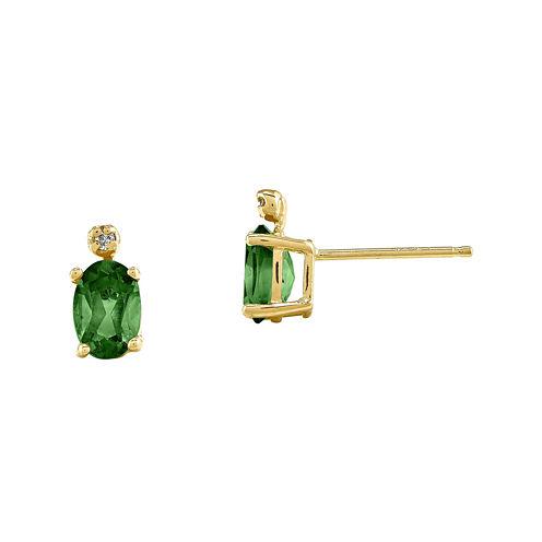 Genuine Emerald Diamond-Accent 14K Yellow Gold Earrings