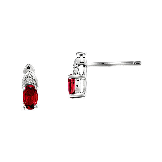Genuine Ruby and Diamond-Accent 14K White Gold Earrings