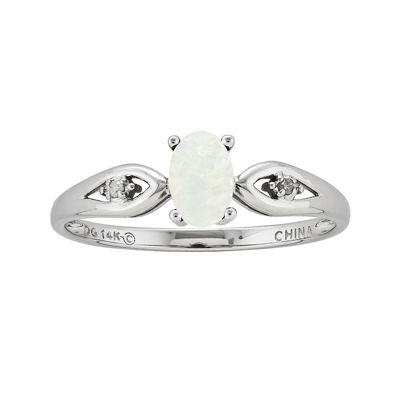 Lab-Created Opal Diamond-Accent 14K White Gold Ring