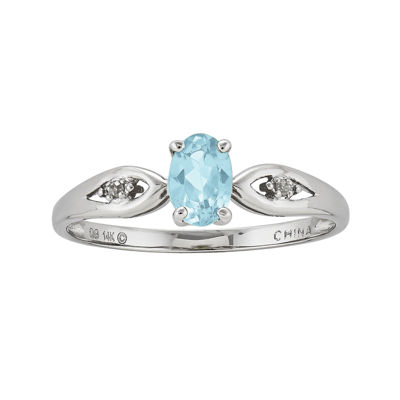 Genuine Aquamarine and Diamond-Accent 14K White Gold Ring
