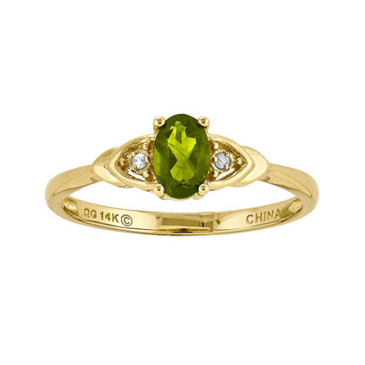 Genuine Green Peridot Diamond-Accent 14K Yellow Gold Ring
