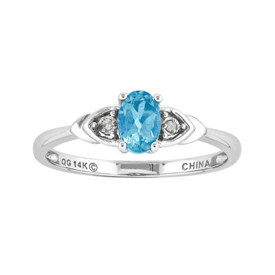 Genuine Swiss Blue Topaz Diamond-Accent 14K White Gold Ring