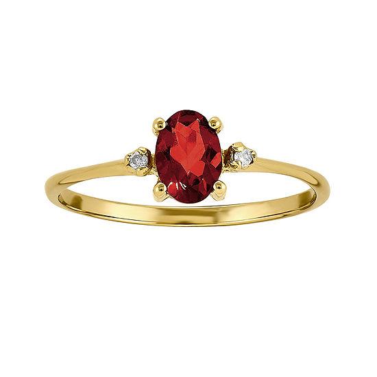 Genuine Red Garnet Diamond Accent 14k Yellow Gold Ring