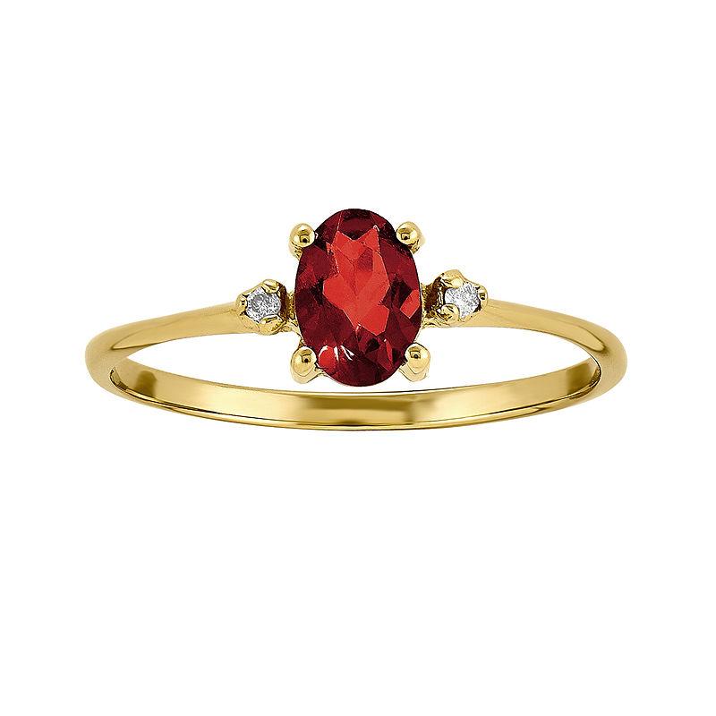 Genuine Red Garnet Diamond-Accent 14K Yellow Gold Ring
