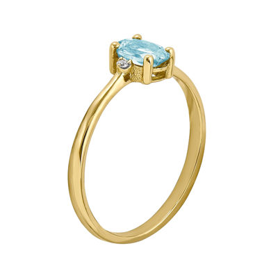 Genuine Aquamarine Diamond-Accent 14K Yellow Gold Ring