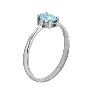 Genuine Aquamarine Diamond-Accent 14K White Gold Ring
