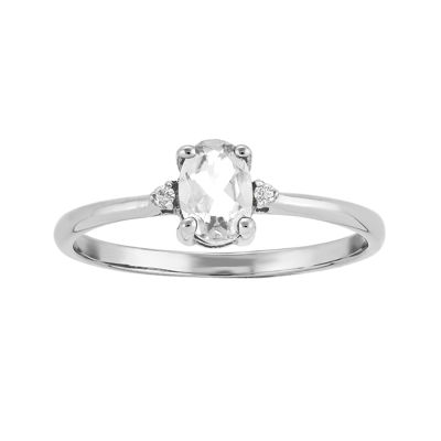 Genuine White Topaz Diamond-Accent 14K White Gold Ring