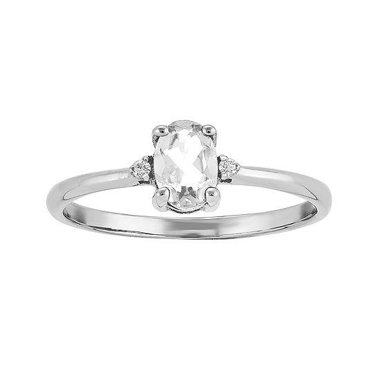 Genuine White Topaz Diamond-Accent 14K White Gold Ring