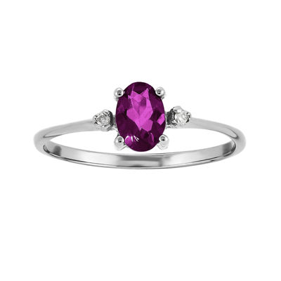 Genuine Red Rhodolite Diamond-Accent 14K White Gold Ring