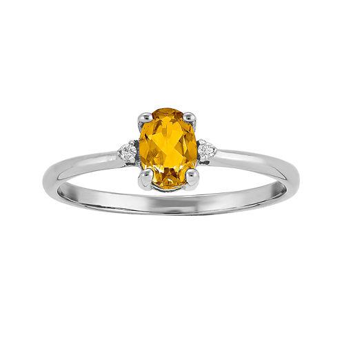Genuine Yellow Citrine Diamond-Accent 14K White Gold Ring
