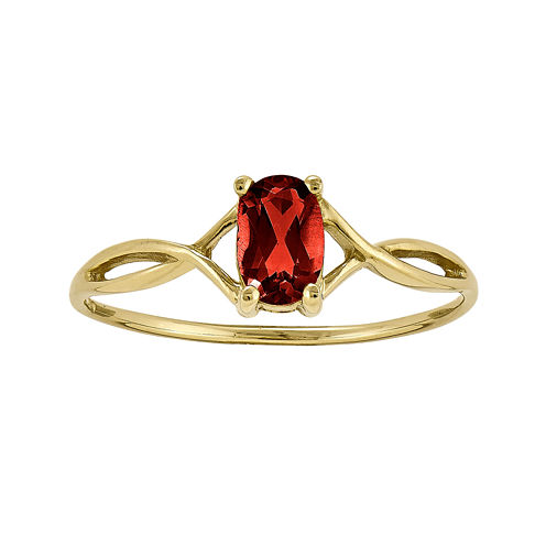 Genuine Red Garnet 14K Yellow Gold Ring